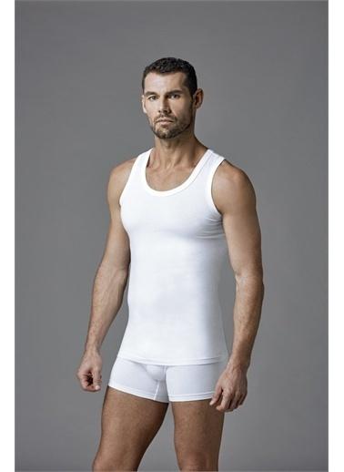 Dagi Beyaz 2'Li Geniş Yaka Penye Erkek Atlet Beyaz
